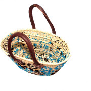 Blue small wicker basket