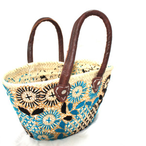 Blue wicker basket