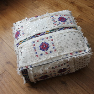 Moroccan Vintage Handira Floor Cushion